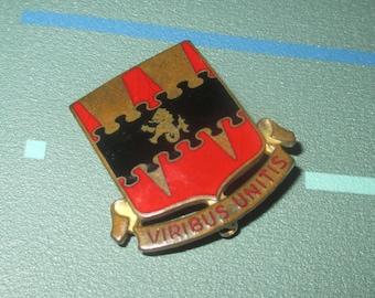 Vintage Enamel and Brass Viribus Unitis Sheild with Lion Military Pin