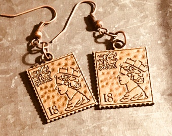 Rustic copper postage stamp earrings