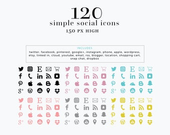 INSTANT DOWNLOAD Social Media Icons, Black Simple Social Icons