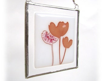 Pink Poppy Fused Glass Suncatcher Light Catcher