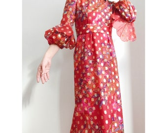 Tina Leser Silk Mod Maxi Dress Gown Poppy Red w/ Gold Painted Detail