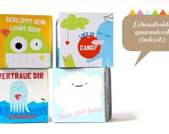PDF DIY bow. Lebensfroide! cubes. Gift box. Guest gift. Tinker. Joy of life. Fun. DIY.