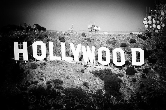 Hollywood Sign Photograph Black And White Photography