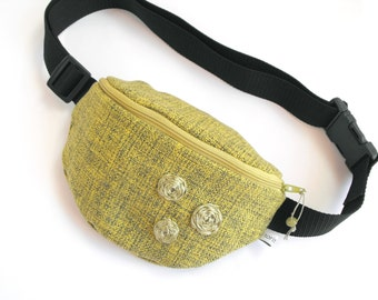 fanny pack/hip bag - olive-green and yellow (small size)