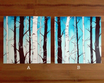 Mounted Prints, Woodland Nursery, Shabby Chic Wall Decor, Birch Trees Art, Ready to Hang Art, Wood Panel Art, Ready to Hang Print,Forest Art