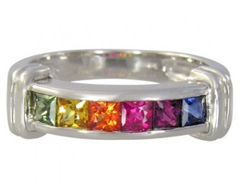 Multicolor Rainbow Sapphire Band Ring 14K White Gold (1ct tw) SKU: 312-14K-Wg