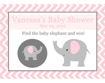 24 Personalized Baby Shower Scratch Off Game Cards -  ELEPHANT - PINK