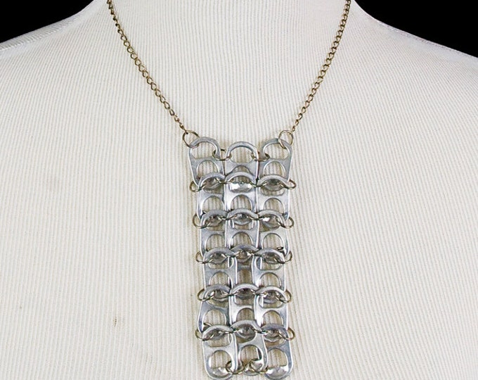 Vertical Rectangle Pop Tab  Necklace