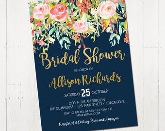 Bridal shower invitation navy blue bridal shower invitation navy bridal shower invitation floral bridal shower invite watercolor navy blue and pink printable bridal shower invite digital invitation filmwisefo