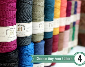 BULK DEAL - Choose Any 4 (Four) Solid Color Spools of 1mm Hemptique™ Brand Hemp Twine - Eco-Friendly, Colorfast, and Biodegradable!
