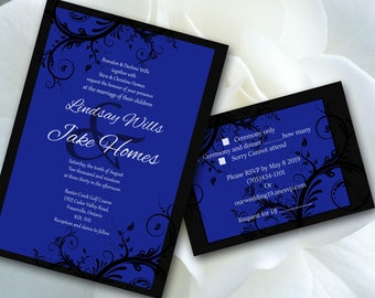 Print your own Wedding Invitation template, blue, black, swirls,