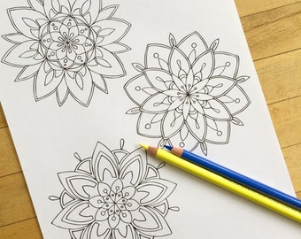 "Mandala ""Trio"" - Hand Drawn Adult Coloring Page Print"