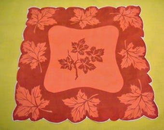 Vintage Autumn Leaves Handkerchief Hanky