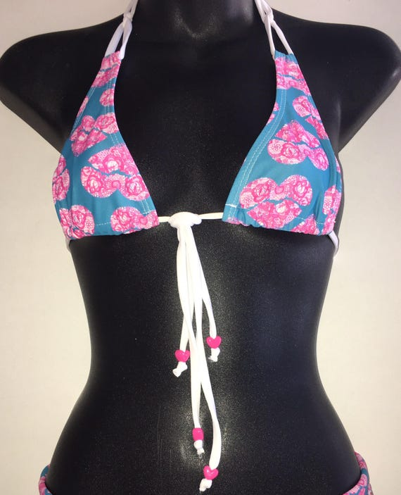 35%OFFSALE *** MissManeater SWEETHEART thin halter sliding boutique bikini top *** MICRO coverage!