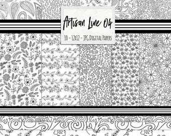 Bohemian Floral Pattern, Black and White Digital Paper, Doodle Flowers, Paisley Print, Flourish Background Paper, Artisan Line 04
