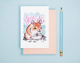 Hamster Illustration Print - Animal Postcard, Animal Print, Nursery Art, Cute Greeting Card, Cute Animal, Kawaii Art Print