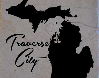 "Set of 4 Traverse City ""Cherries"" Coasters Free Shipping"