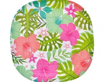 Set of 4 Tropical Print Jungalow Melamine Plates - Picnic Plates, BBQ Plates, Leaves Palm Print, Flower Floral Print, Hibiscus Dinner Plates