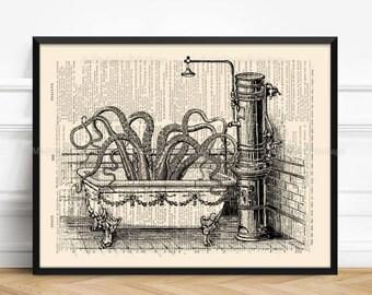 Tentacles Steampunk, Octopus Beach Print, Best Gift Girlfriend, Bathroom Art Poster, 13th Birthday Print, Whimsical Poster, Geek Girl 078