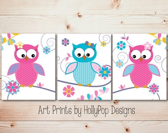 Bright Colorful Nursery Art Whimsical woodland Owls Pink Purple Aqua Nursery Wall Decor Toddler Girls Room Decor Art Set of 3 Prints Floral