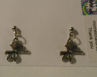 Silver Bird on a Branch Post Earrings