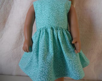 """Teal dress with green swirls for 18"""" American Girl dolls, Springfield dolls"""