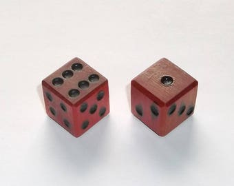 Wooden Dice - Imperfect Red Pair