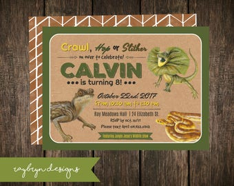 Crawl, Hop or Slither | Reptile Theme Birthday Invitation | Lizard and Snake | Green, Brown, Yellow & Beige  | Printable File