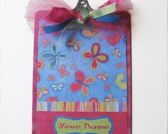 Personalized Altered Designer Clipboard Butterfly