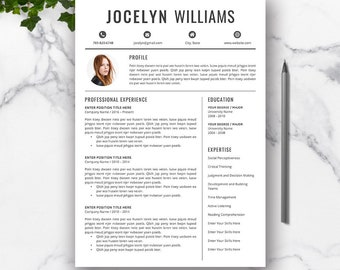 Resume Template, CV Resume Template Word, Cover Letter, Professional Resume Design, Creative Resume, Modern CV, Instant Download, JOCELYN