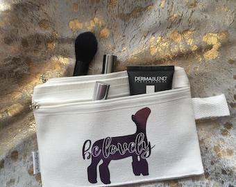 Show Lamb Canvas Make Up Bag