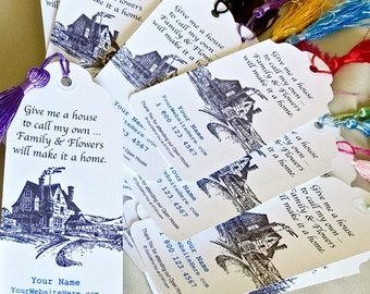 Family & Flowers Make a Home Bookmarks - Open House Favors - Realtor Personalized
