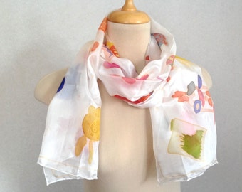 Silk Scarf with Childrens drawings  Gift for Graduation