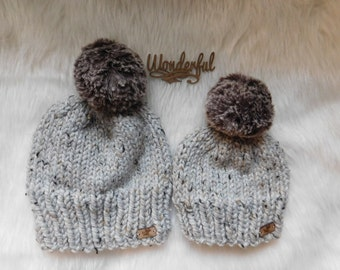 Limited Edition of Matching hats. Mom/Son matching hats. Daughter and Mother hats. Mommy and me hats. Luxury over size pom poms.
