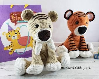 saber tooth tiger, tiger doll, tiger toy, crochet tiger, tiger plush, stuffed tiger