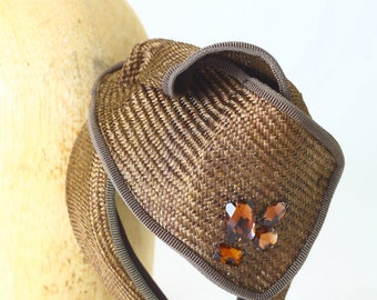 Brown Jeweled Straw Headband Fascinator Spring Summer Headpiece Hat, Brown Grosgrain Ribbon- Kentucky Derby/Belmont/Millinery/Womens Hat