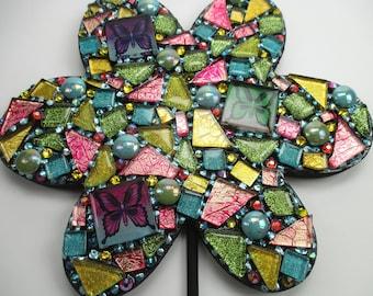 Mosaic Mixed Media Art Flower Wall Hook - Mosaic Flower Bright Colors Butterflies Glass Mosaic Wall Art Mixed Media Wall Art Mosaic Decor