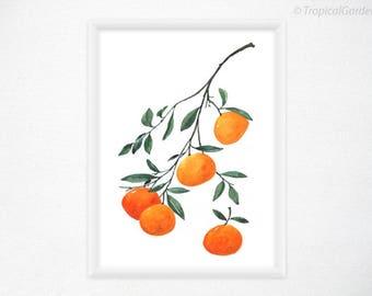 Mandarin Orange Watercolor Print - Fruit Art, Kitchen Print - 8x11 Kitchen Decor / Food Wall Art