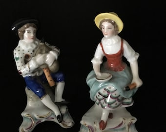 """German Porcelain Country Couple Figurines 3.5"""""""