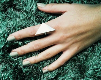 Silver Triangle Ring Geometric Modern Ring  Minimalist Ring,Big triangle ring