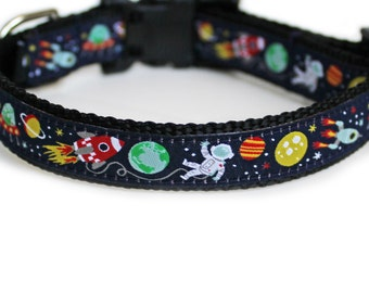 Dog Collar, Can be Personalized, for Girl or Boy, Aliens, Astronauts, Rocket Ships, Benefits Animal Rescue, Small Dog Collar- Outer Space