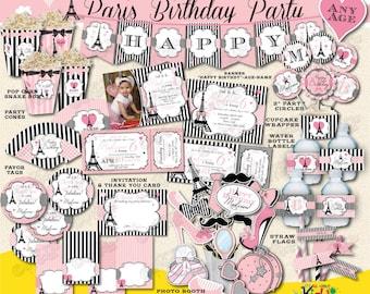 On Sale! Paris Birthday Package-Printable Paris Party Package-Parisian Birthday-Paris First Birthday Party Decoration-Paris Party Decor