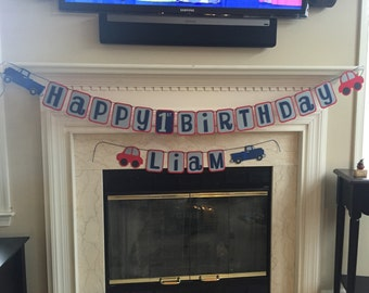 Car & Truck Happy Birthday Banner | Perfect for your TRANSPORTATION themed Birthday Party or Cars and Trucks Birthday Party