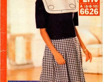 Vintage UNCUT Butterick See & Sew Pattern 6626 - Misses/Misses Petite Very Easy Top and Split Skirt - 6-10