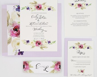 Purple Wedding Invitations - Lavender  - Wedding Invitations - Purple and Cream Blooms Collection Sample Set