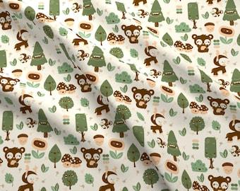 Woodland Kawaii Fabric - Kawaii Wanderlust By Babybubbleco - Kawaii Woodland Nursery Cotton Fabric By The Yard With Spoonflower