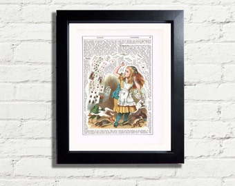 Alice In Wonderland Vintage Classic Falling Cards Colour INSTANT DIGITAL DOWNLOAD A4 Printable Pdf Jpeg Dictionary Style Image  Artwork