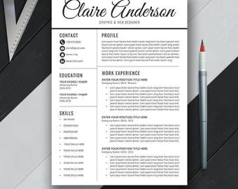 Professional Resume Template, Cover Letter, References. Office Word for Mac & PC, Modern Simple Creative Resume, Instant Download, Claire