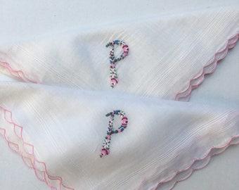 2 Colorful P Monogrammed Pocket Squares Ladies Vintage Hankie Handkerchief