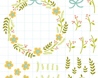 Spring flower wreath clipart - Hand drawn instant download PNG graphics - 0004